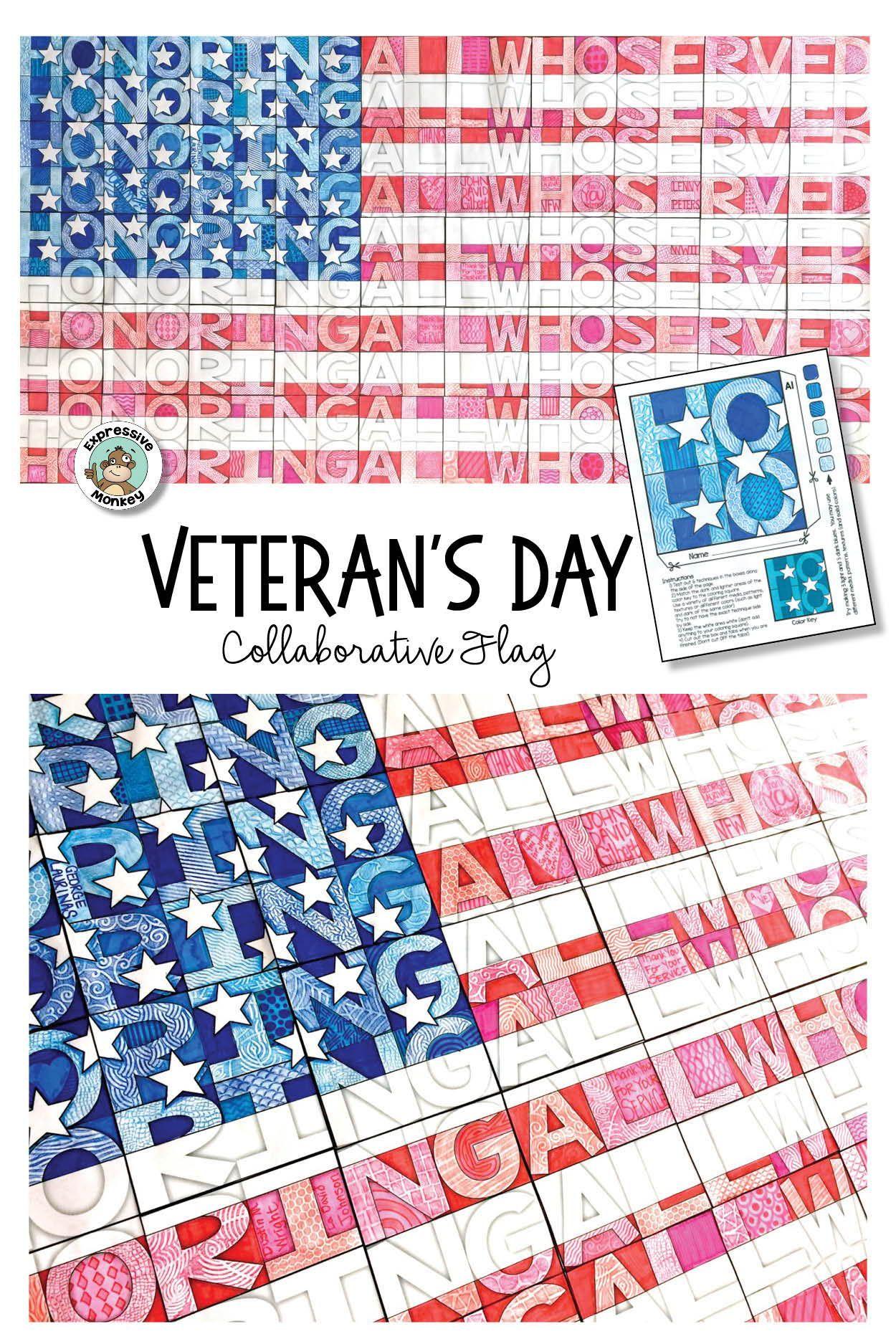 Veteran S Day Art Activity Collaborative Flag Poster Art Activities Art Activities For Kids Veterans Day