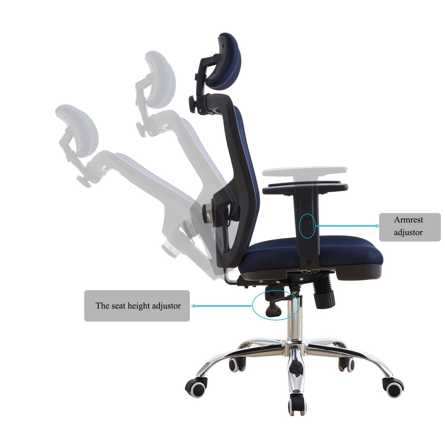 High back mesh office chair with adjustable headrest and