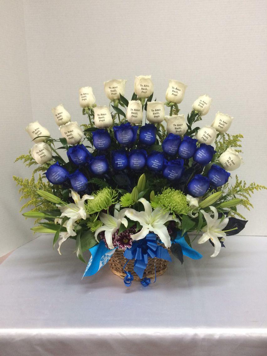 Rosas Azules Y Blancas Impresas Confeccionado Por