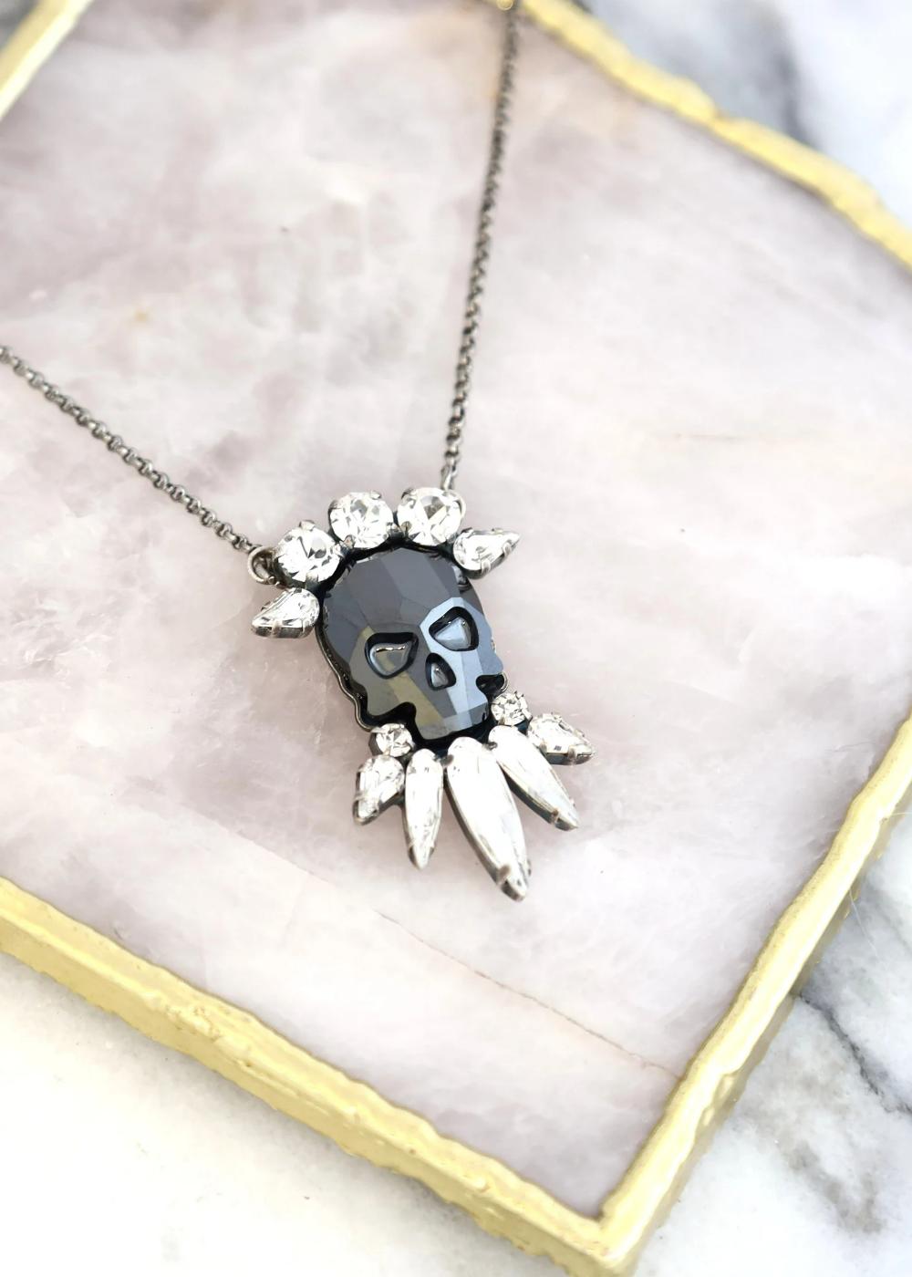 Skull Necklace Sugar Skull Crystal Necklace Bridal Gothic   Etsy