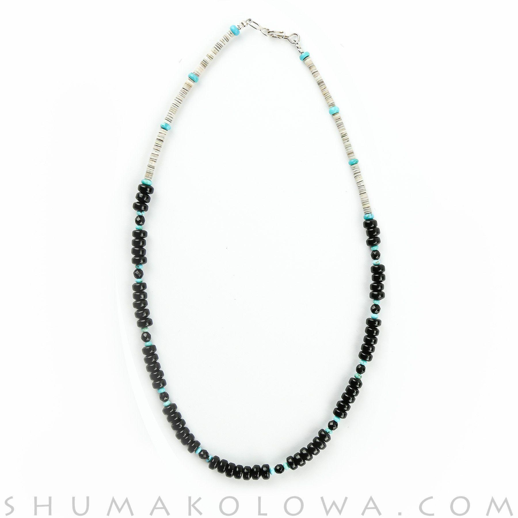 Helen Tsosie Onyx, Turquoise & Shell Heishi Necklace