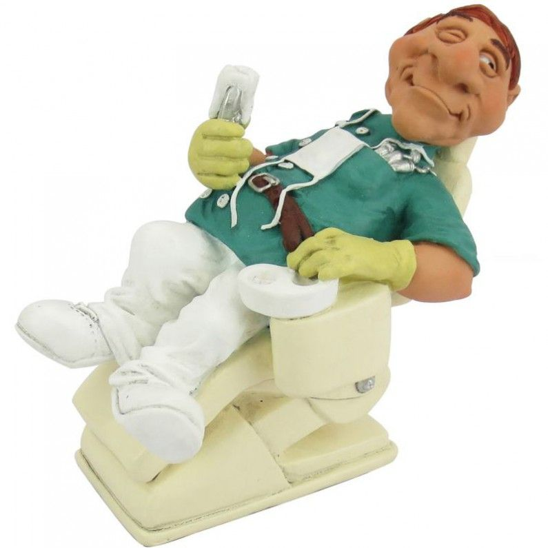 Funny jobs, beeldje liggende tandarts, figurine dentist, figur ...