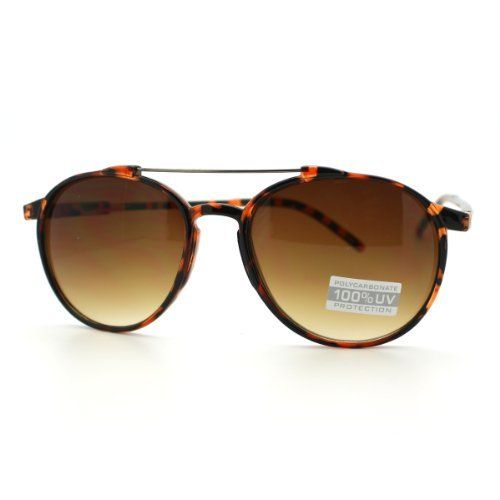 6f16f9b5288 Tortoise Brown Plastic Frame Tear Drop Shape Aviator Keyhole Sunglasses  with Metal Double Bridge 106Shades.  9.90