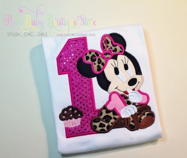 3396ad0d9df6 Baby Minnie Mouse Hot Pink Leopard Girls Birthday Shirt