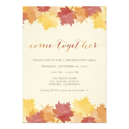 Watercolor Leaves Thanksgiving Party Invitation  Watercolor Leaves