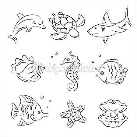 Meer Leben Vektor Skizze Satz Sea Drawing Sea Creatures Drawing Sea Animals Drawings