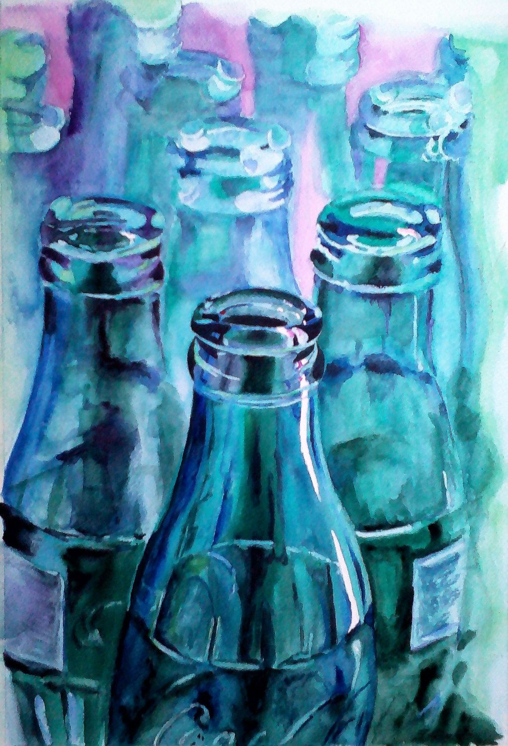 Glass Bottles Home Decor Still Life Painting Original Watercolor