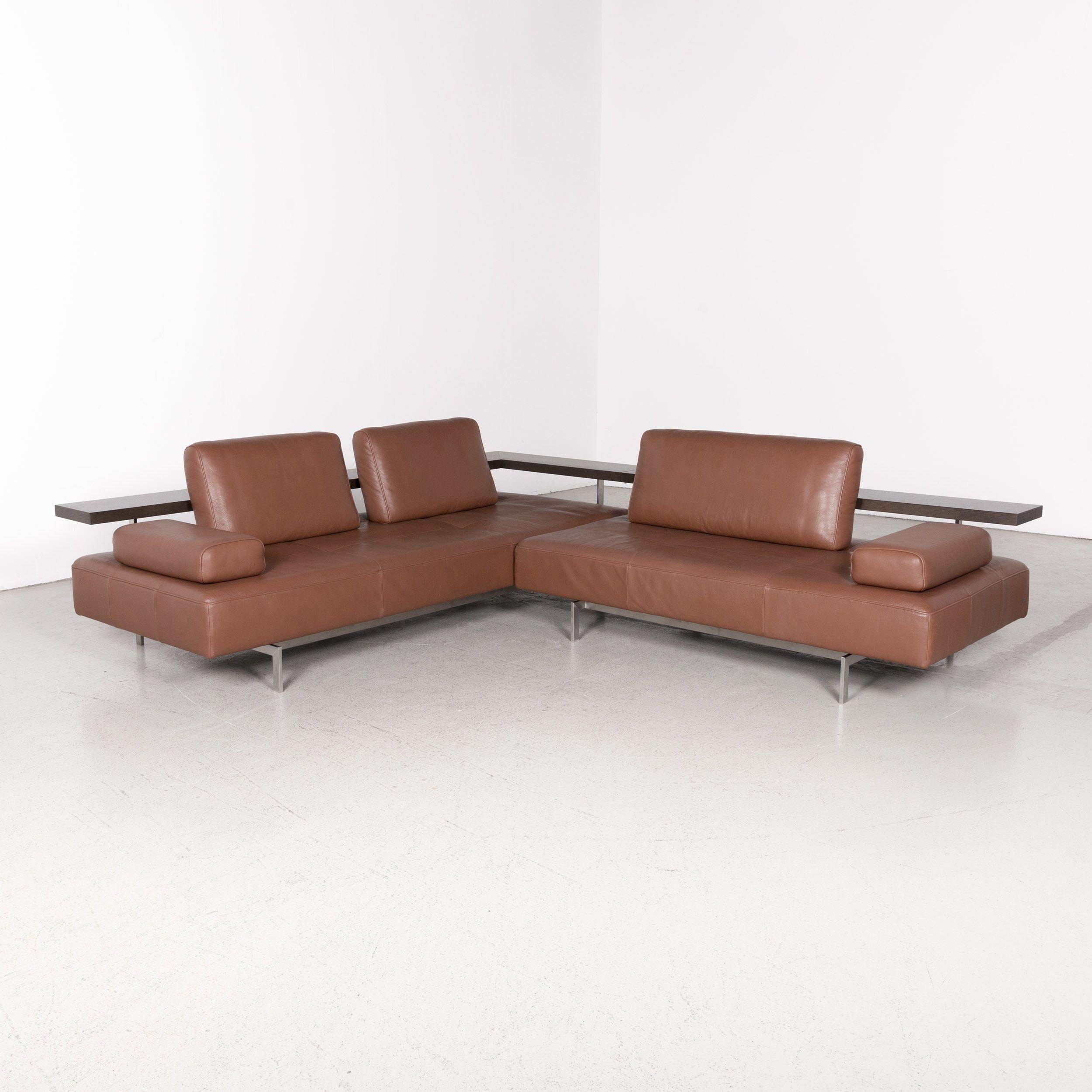 Rolf Benz Dono Designer Sofa Brown Genuine Leather Corner Sofa