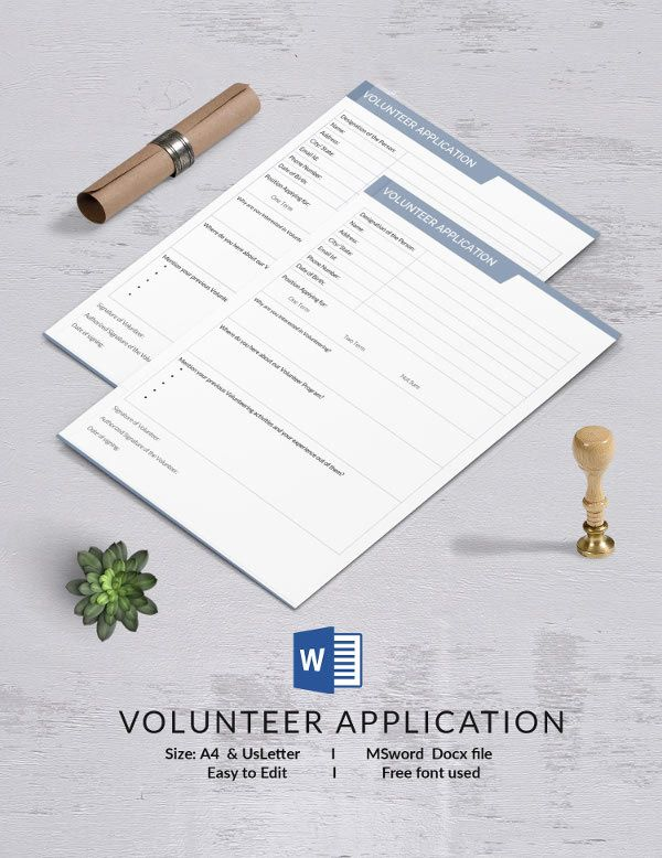 Volunteer Application Template 13+ Free Application Templates