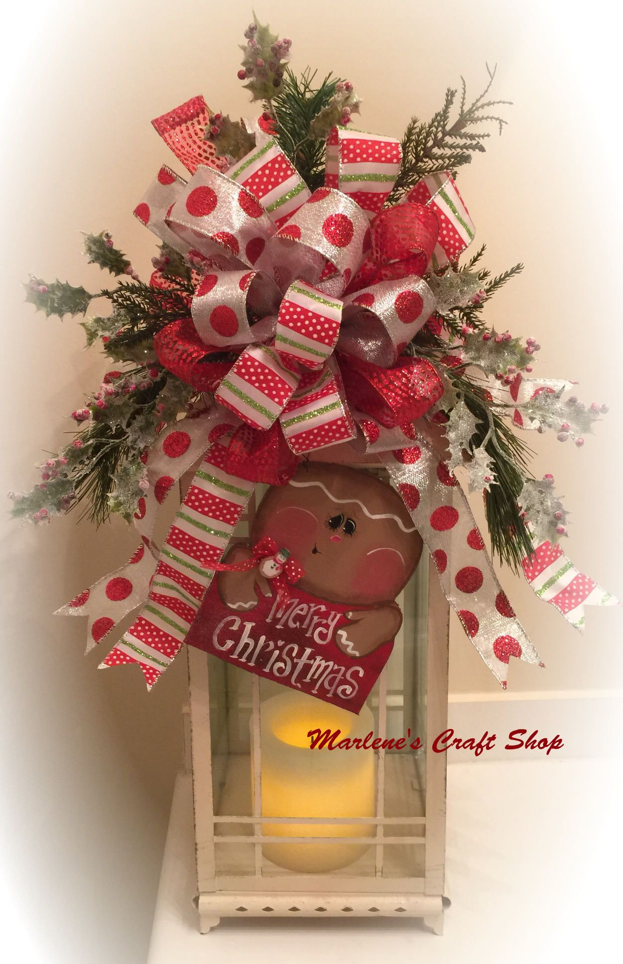 Gingerbread Lantern Swag Gingerbread Tree Topper Bow Christmas Tree Topper Gingerbread C Christmas Lanterns Lantern Christmas Decor Christmas Tree Toppers
