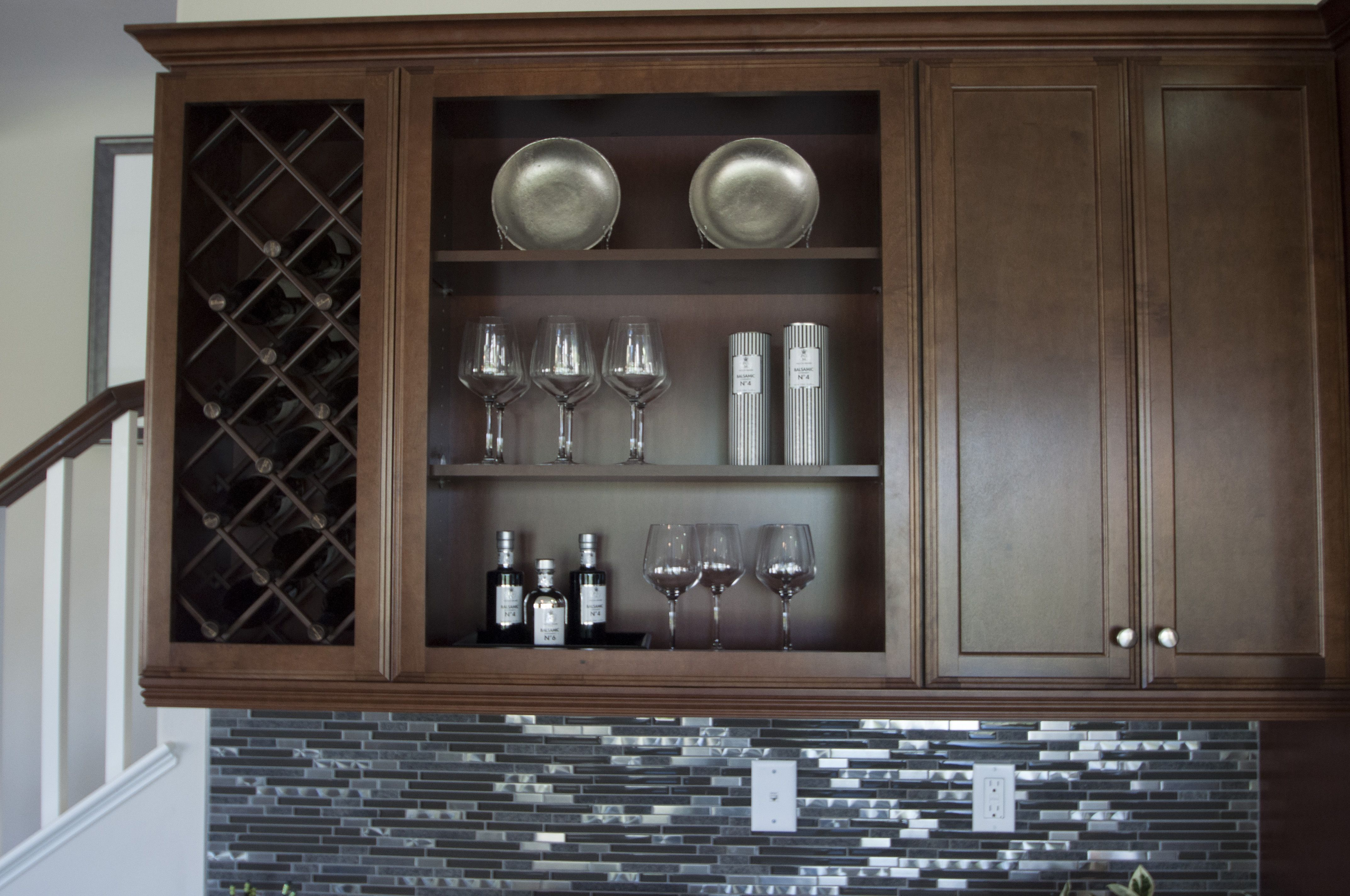 Rsi Pcs Frameless Cabinetry With Wine Rack Shown In Our Laguna Maple Door Style With Brandy F Frameless Cabinetry Kitchen Remodeling Projects Wine Rack Cabinet