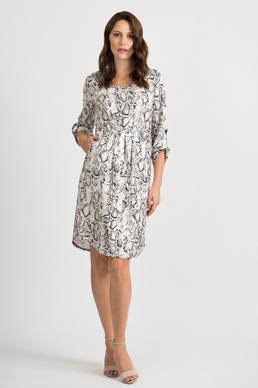 Joseph Ribkoff Beige Black Snakeskin Print 3 4 Sleeve Shift Dress 201538 New Snake Print Dress Joseph Ribkoff Dresses Print Dress [ 1500 x 1000 Pixel ]