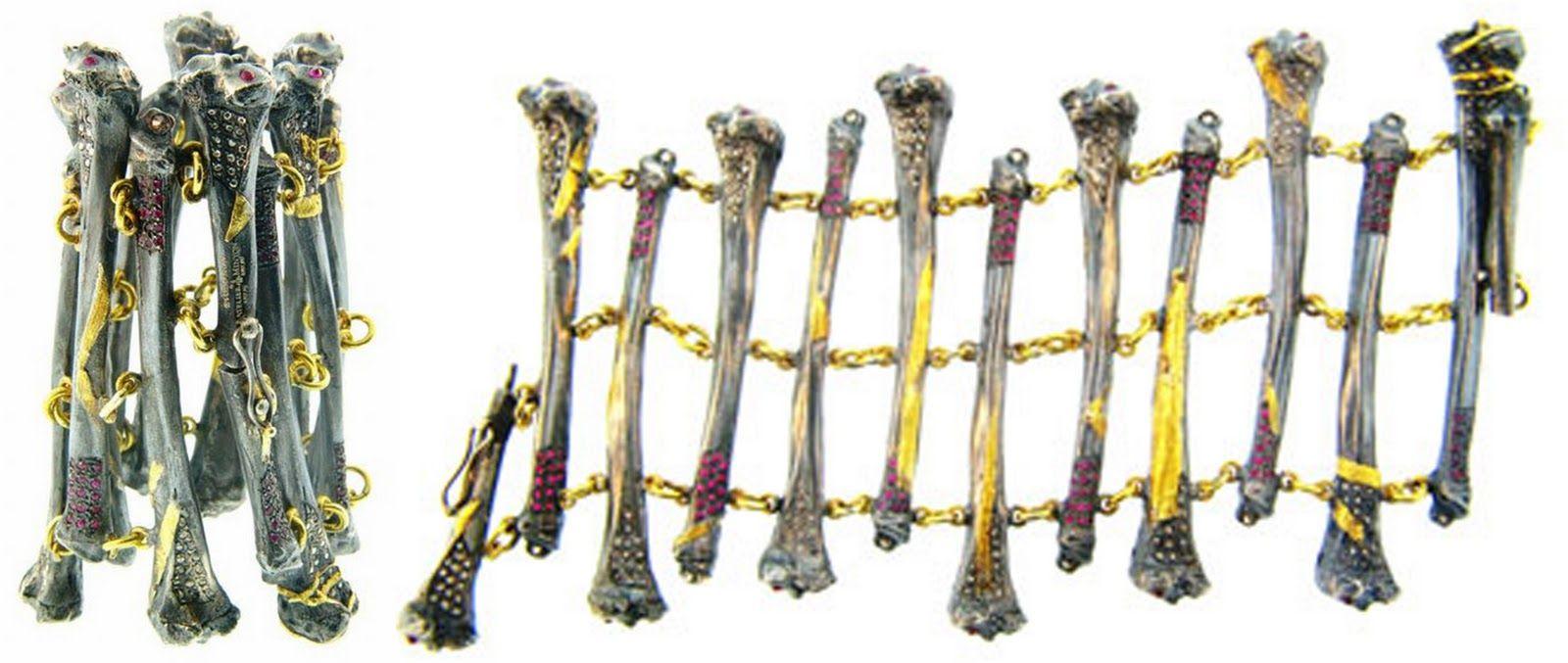 Alp Sagnak created a bone bracelet bedazzled with rubies and diamonds.