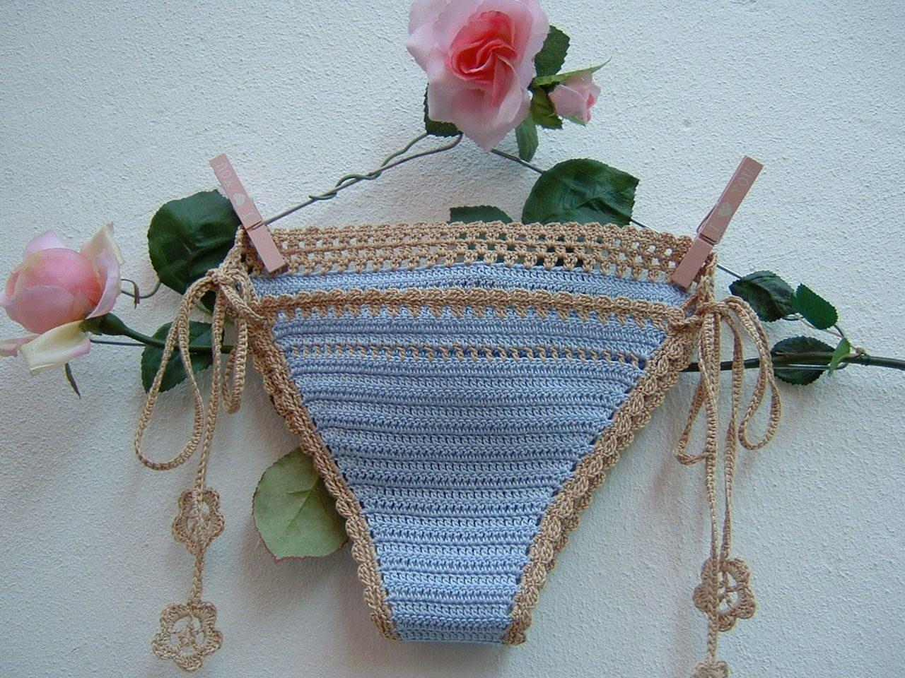 Bagno Lilla E Rosa : Cotton bikini in crochet swimsuit mauve and ecru slip with lace and
