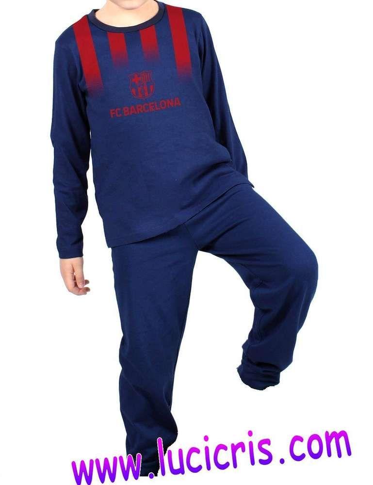 Pijama FC Barcelona Adulto Azul-Granate-Gris Manga Corta