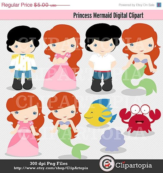 Princess Mermaid Digital Clipart for Personal and ...