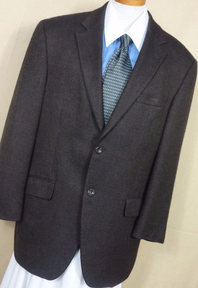 Arnold Brant Men's 2 Button Brown Nailshead Wool Sport Coat Size ...