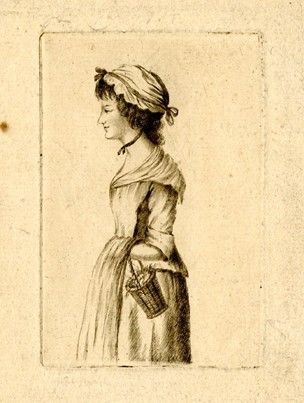 A young woman in rustic dress shown standing in profile to left, looking ahead, a small basket hanging from her arm with her hand tucked under her apron, wearing a mob-cap with a ribbon around her neck. Drypoint