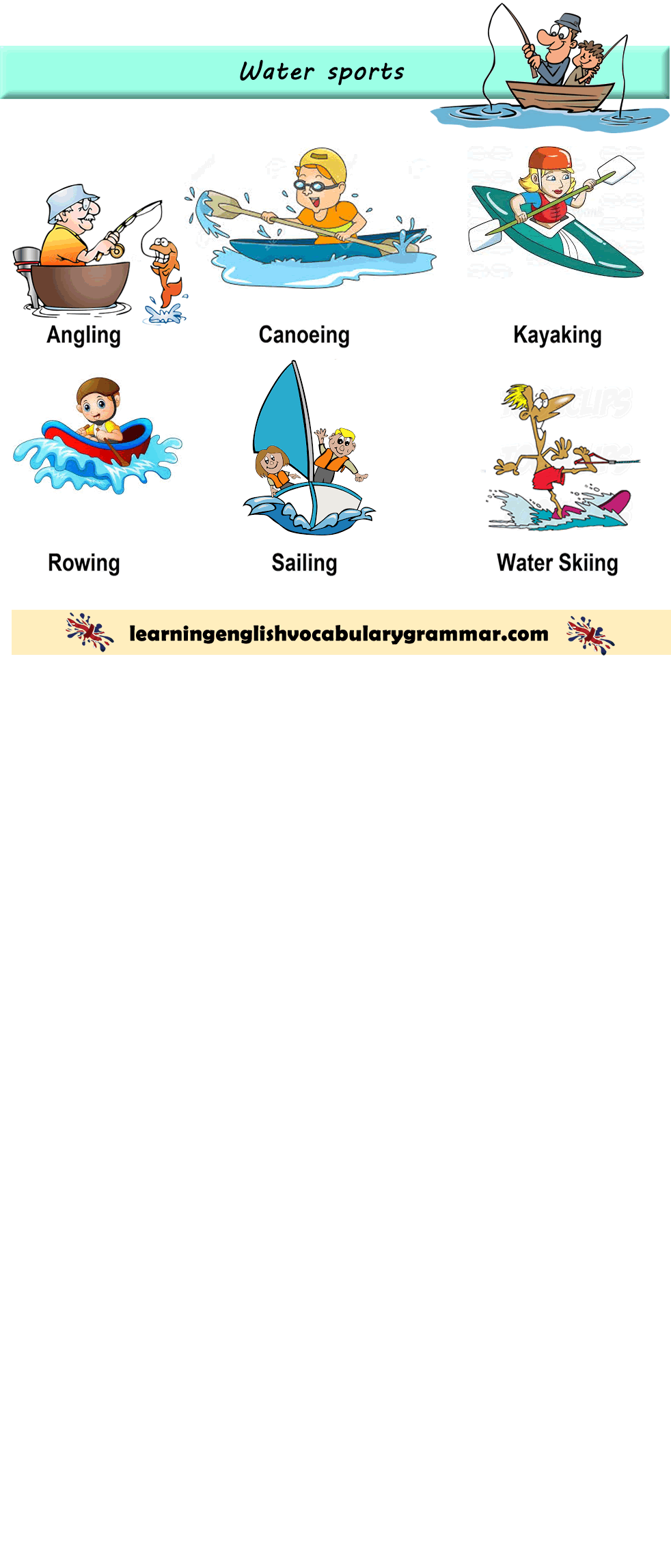 Water Sports Vocabulary List With Pictures Learn English Vocabulary Kindergarten English [ 2296 x 982 Pixel ]