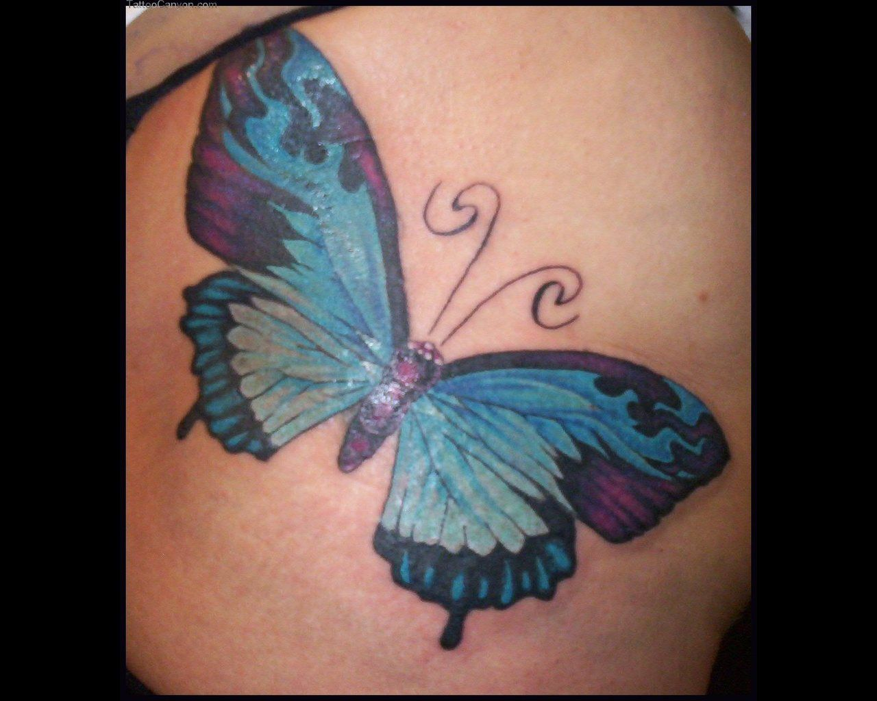 92722badbec7d Sky Blue Butterfly Tattoo For Women | Tattooshunt.com | Blue ...