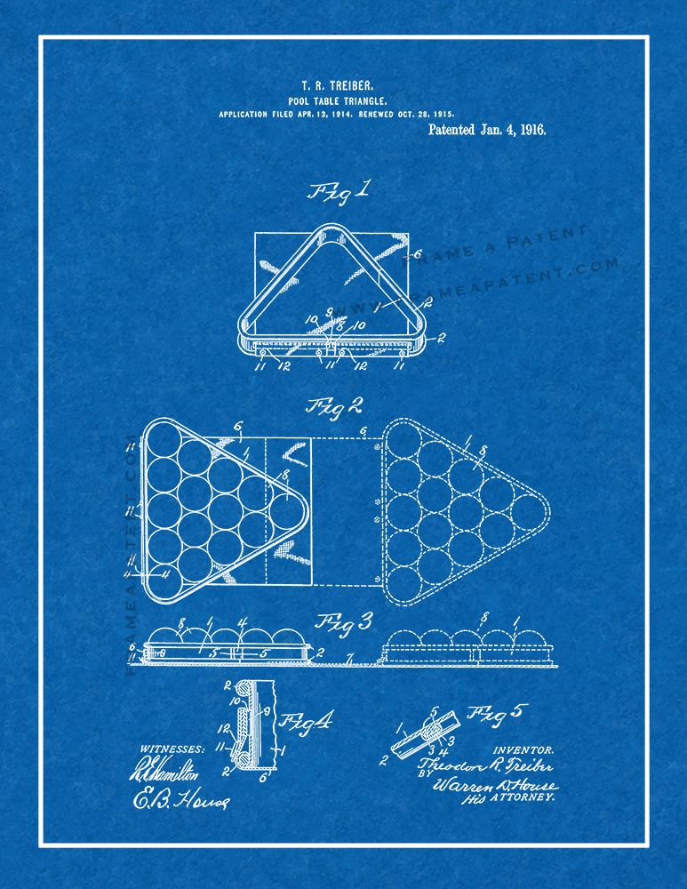 Pool-table Triangle Patent Print - Blueprint with Border