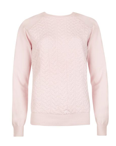 Cable knit sweater - Pale Pink | Knitwear | Ted Baker UK ...