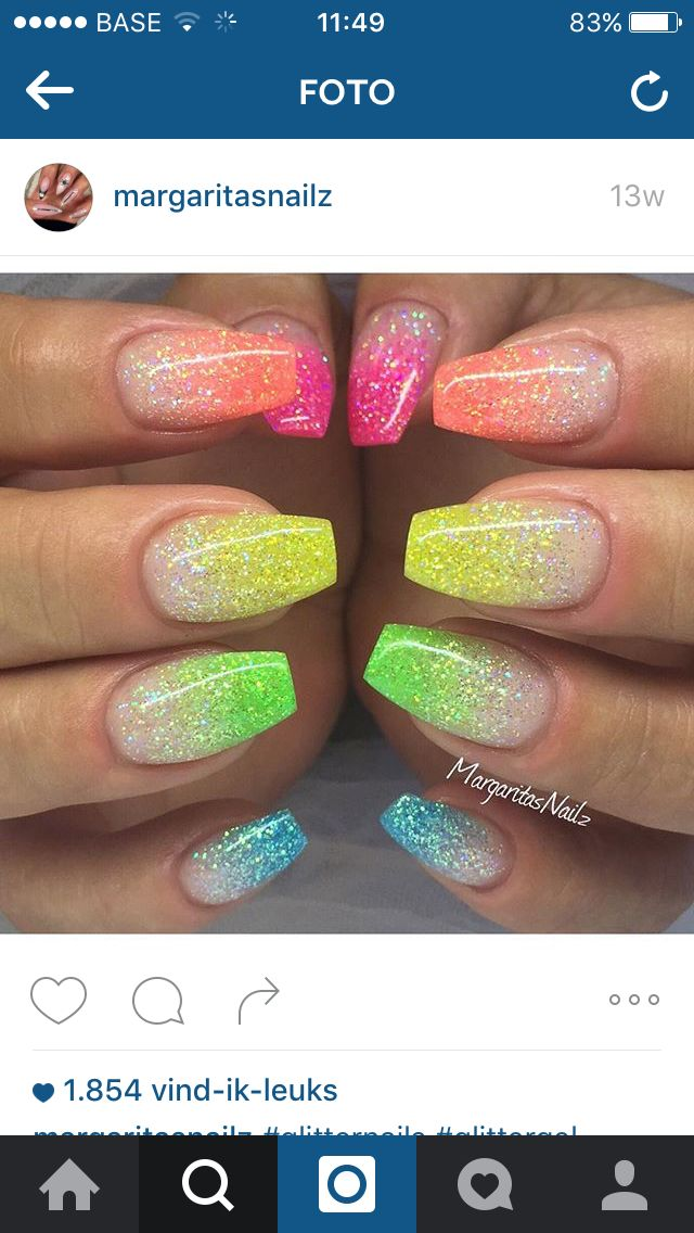 Neon Acrylic Nail Designs With Glitter