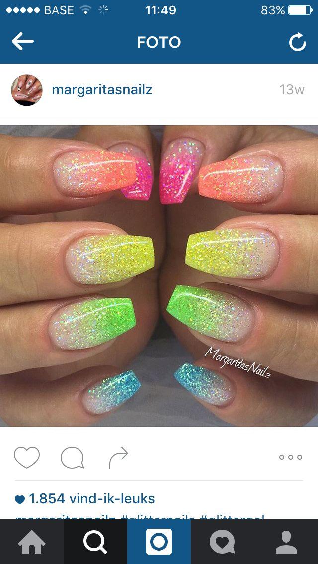 Neon glitter nails | nails | Pinterest | Glitter nails, Neon and ...