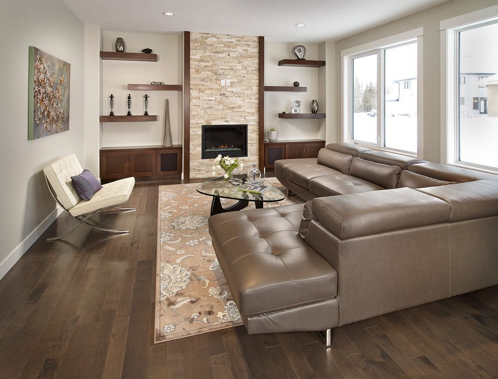 Floating Shelves Lowes Living Room Contemporary With Beige Patterned Rug Wall Brown Leather