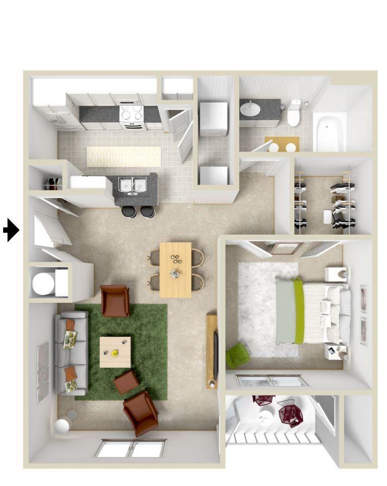 Le plan maison d\u0027un appartement une pièce - 50 idées Small living