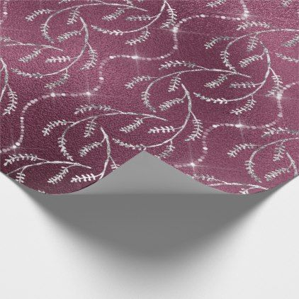Burgundy Spark Foil Floral Silver Gray Beetroot Wrapping Paper