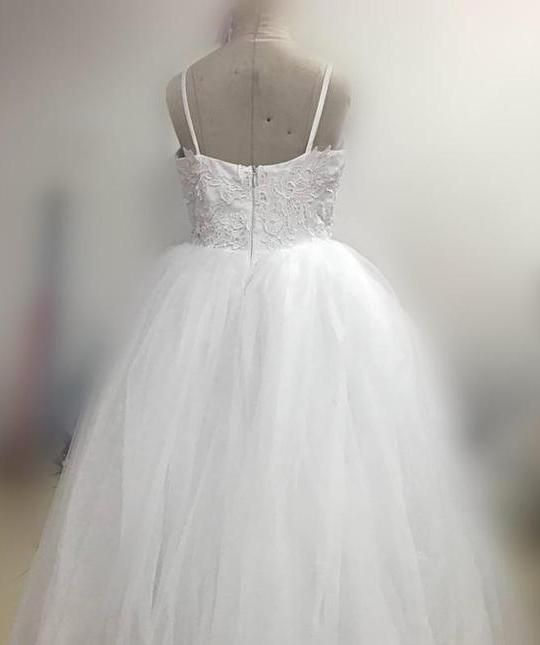 077c86acb32 A Line Spaghetti Straps Lace Top White Tulle Flower Girl Dresses For  Wedding Party – PromDress.me.uk