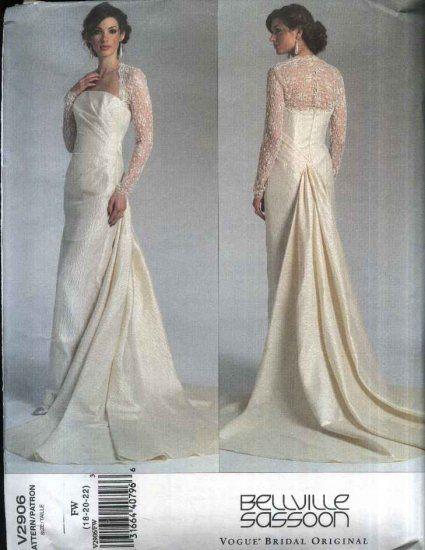 Vogue Sewing Pattern 2906 Misses Size 6 10 Bellville Soon Bridal Original Wedding Gown Dress