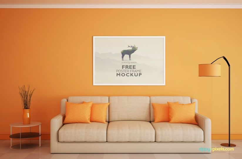 Easy To Use Horizontal Poster PSD Mockup With Smart Object Design Replacement