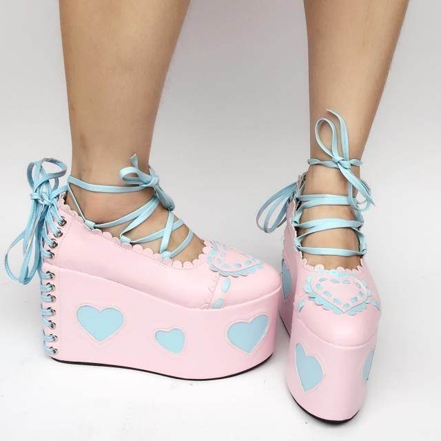 Lolita Lace Heart Women Kawaii Japanese Sweet Elegant Princess Platform Shoes