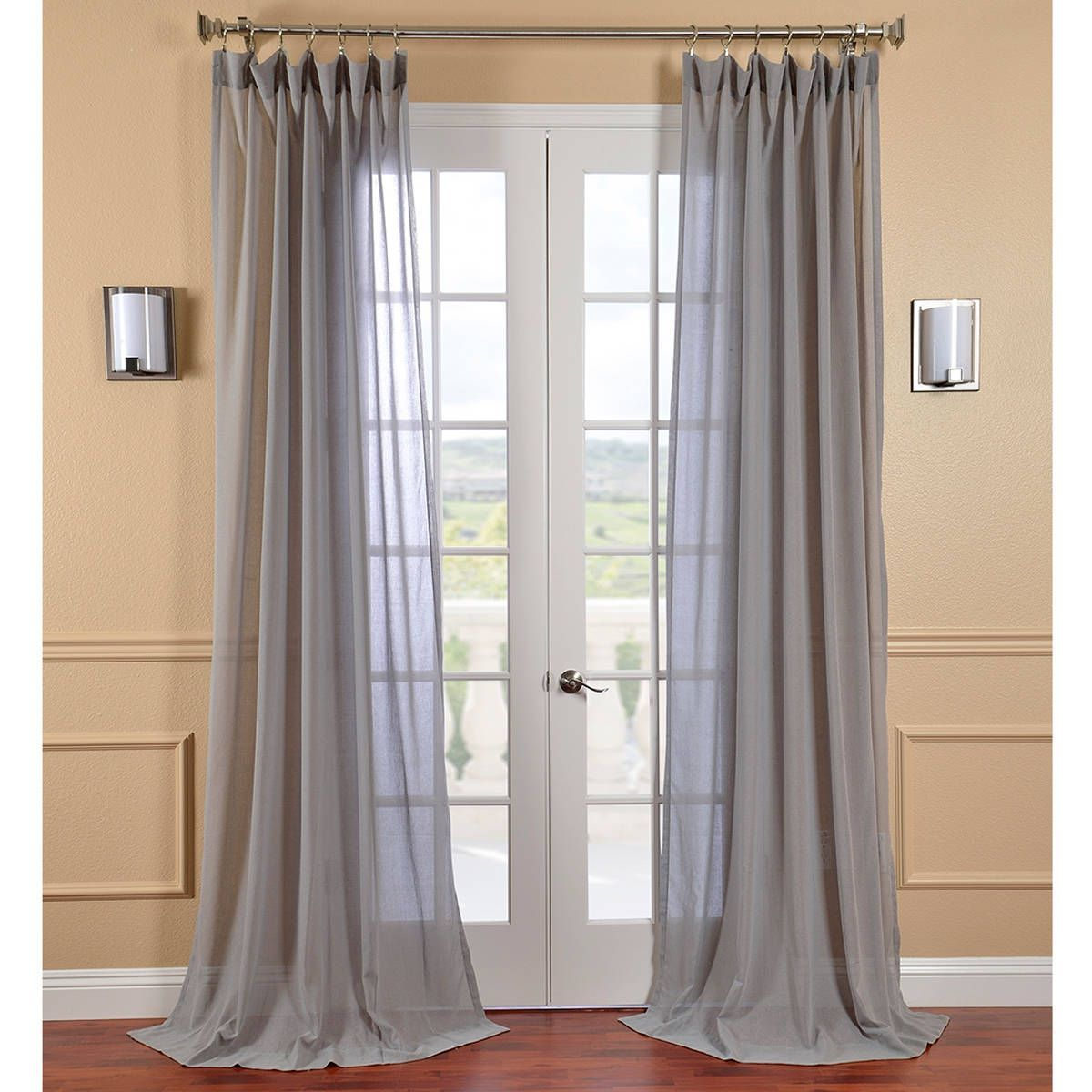 Exclusive Fabrics Nickel Faux Linen Sheer Curtain Panel With