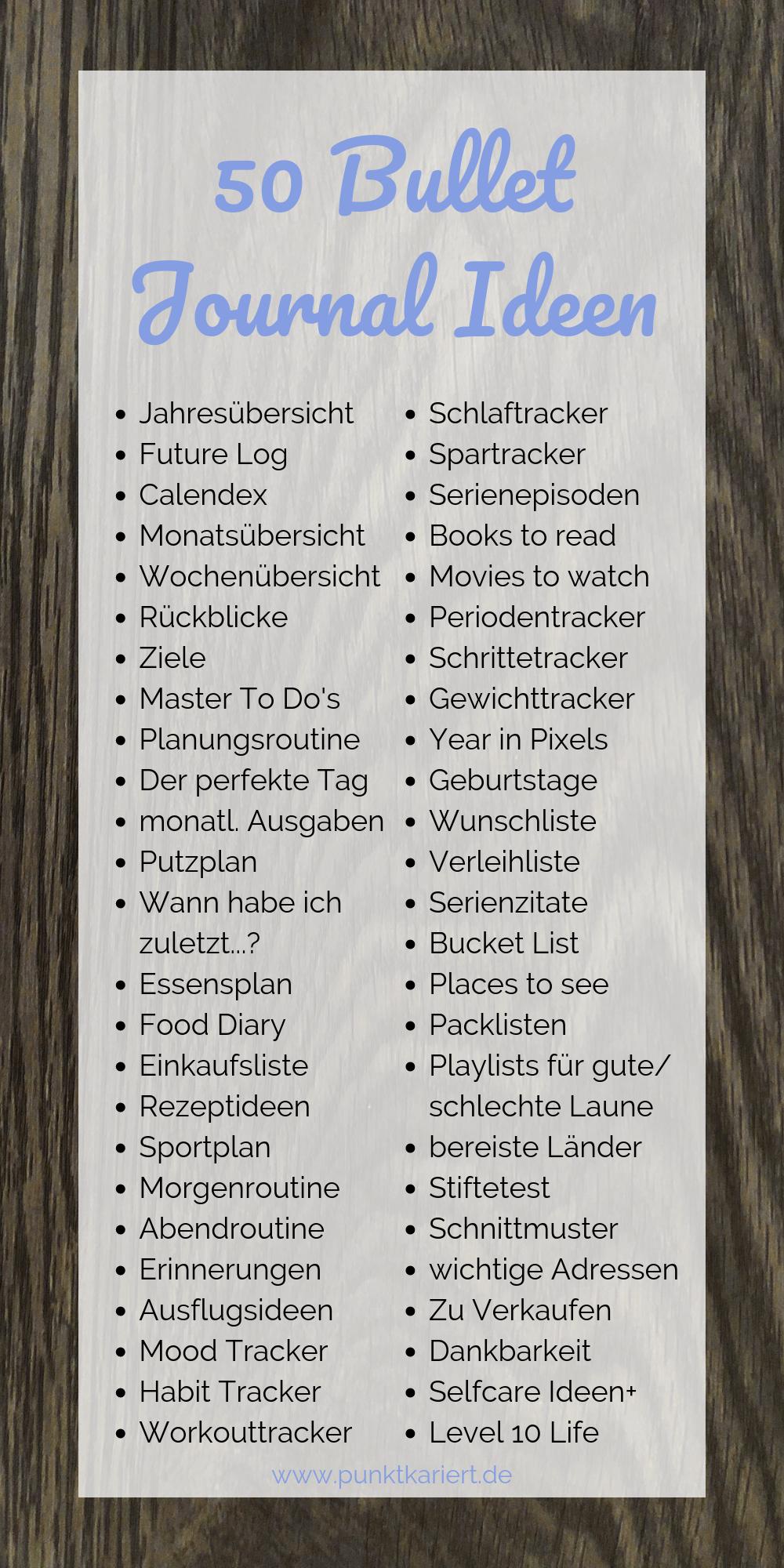Die Masterliste: 69 Ideen für dein Bullet Journal | Punktkariert