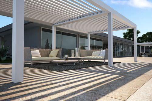 aluminium pergola with mobile slats vision pratic f lli orioli spa
