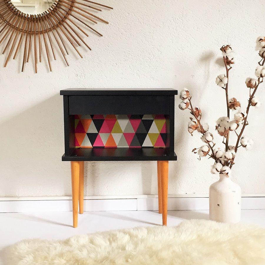 chevet table de nuit des ann es 60 vintage r nov par. Black Bedroom Furniture Sets. Home Design Ideas