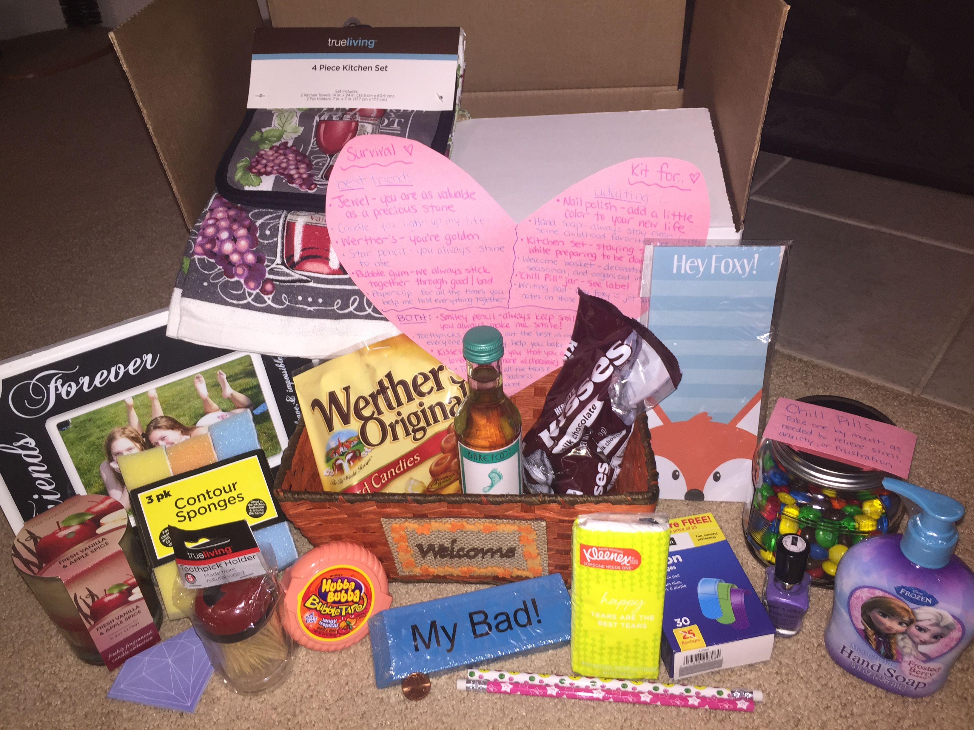 Birthday housewarming gift survival kit for a best