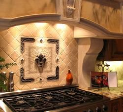 Love The Backsplash Emblem On This Italian Style Kitchen Cooktop