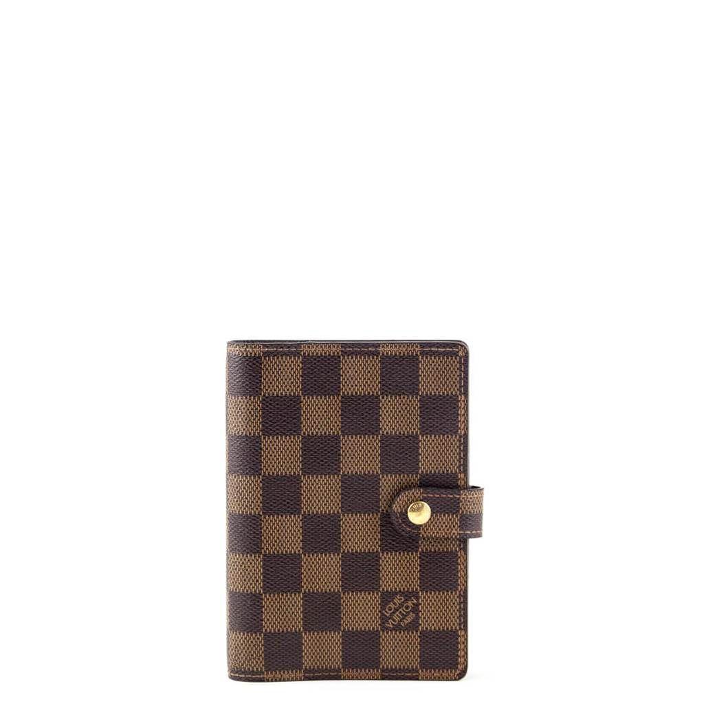 9f686c49c705 Louis Vuitton Damier Ebene Small Ring Agenda Cover   Gold Ballpoint Pen -  LOVE that BAG