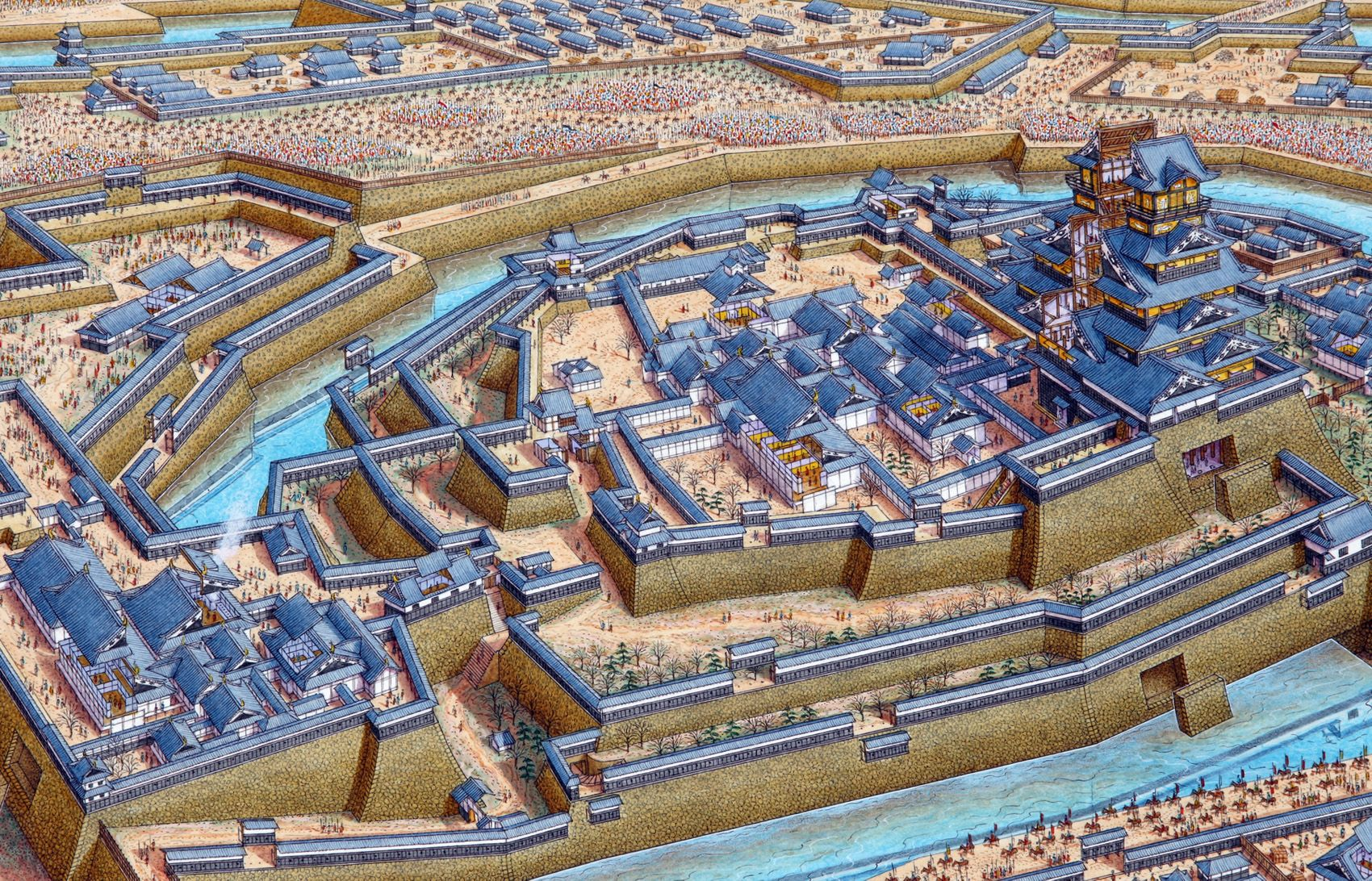 Cutaway panorama of Osaka Castle in 1614 featuring the