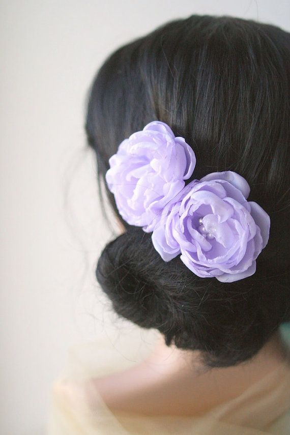 Lavender Bridal Flower Hair Clips Wedding Hair By Belleblooms Bridal Hair Accessories Flower Flower Hair Accessories Wedding Flower Hair Accessories