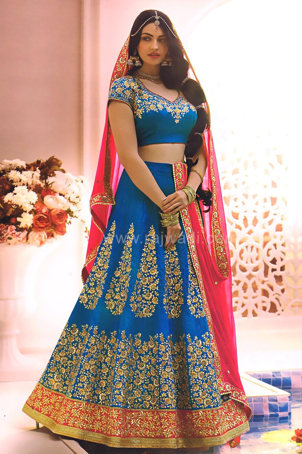 Image result for blue bronze brocade lehenga