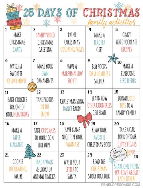 25 Days Of Christmas Advent Activities Calendar Printable Christmas Countdown Calendar Christmas Advent Calendar Christmas Countdown