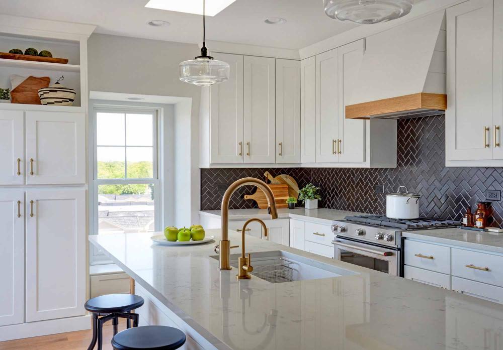 white kitchen dark backsplash - Google Search | Kitchen ...