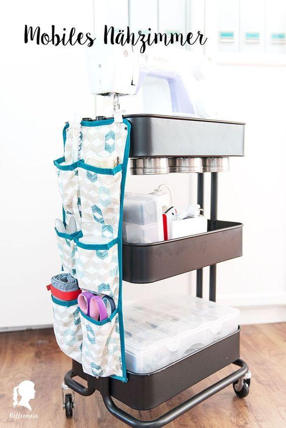 Rollcontainer ikea  Mobiles Nähzimmer im Ikea Raskog Rollcontainer mit vielen ...