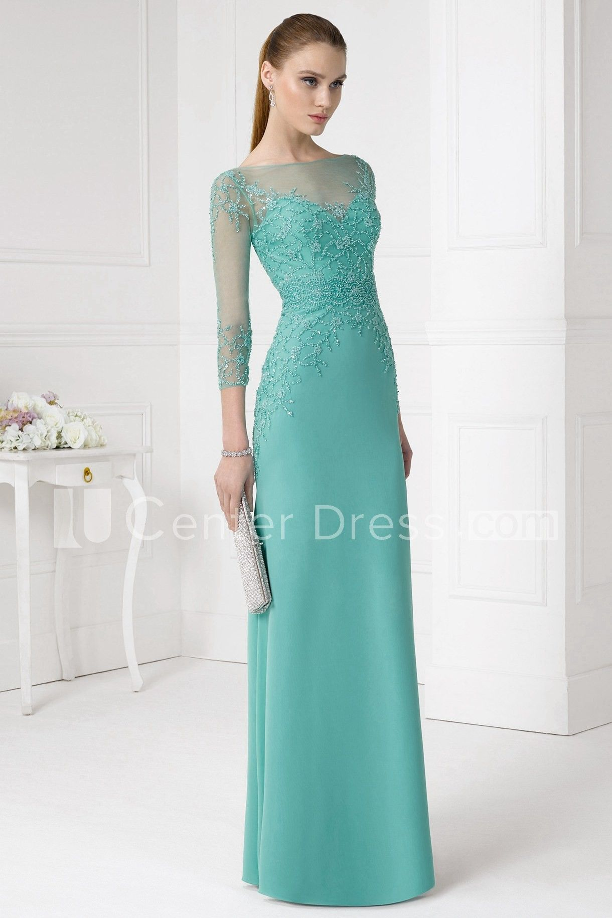 f6e7c8e1a3fc ... wedding dresses and evening gowns. $123.09-Elegant Sheath Beaded Jewel-Neck  Long Jersey Green Long Mother of the Groom