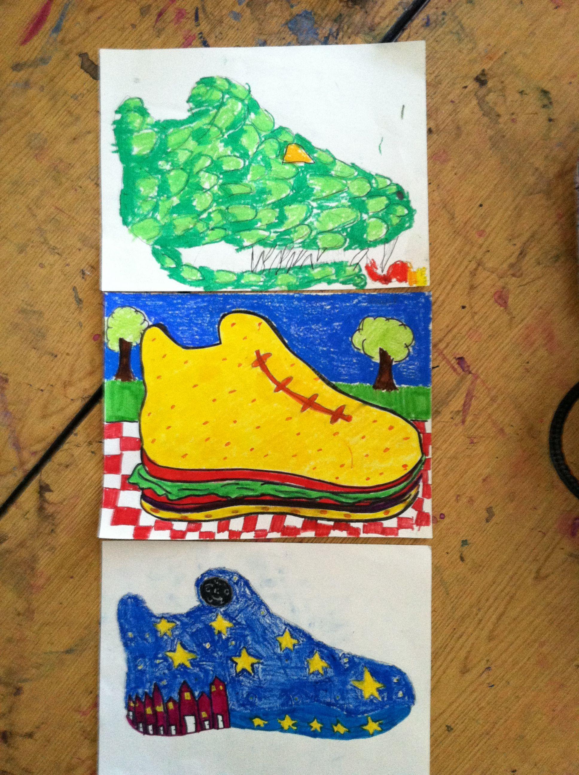 design a sneaker art project with 6th grade art teacher